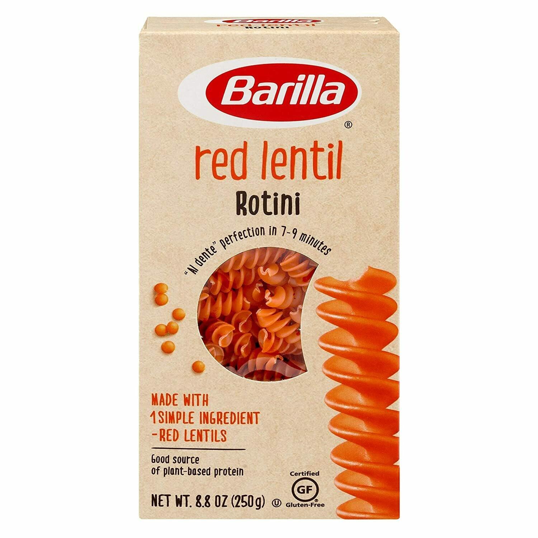 Barilla Red Rotini Lentil Pasta, Gluten Free Pasta, Rotini, 8.8 oz 250g