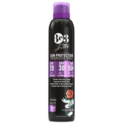 Солнцезащитный спрей с защитой татуировок с прогрессирующим SPF 20/30/50+ (черный флакон) / Tattoo Sun protection progressive spray SPF 20/30/50+ Be3