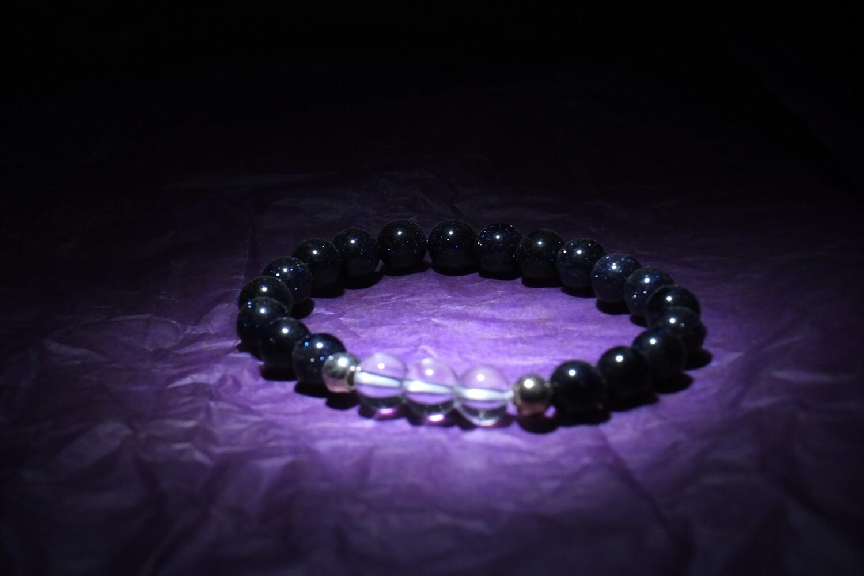 Clear Quartz & Blue Sandstone Bracelet