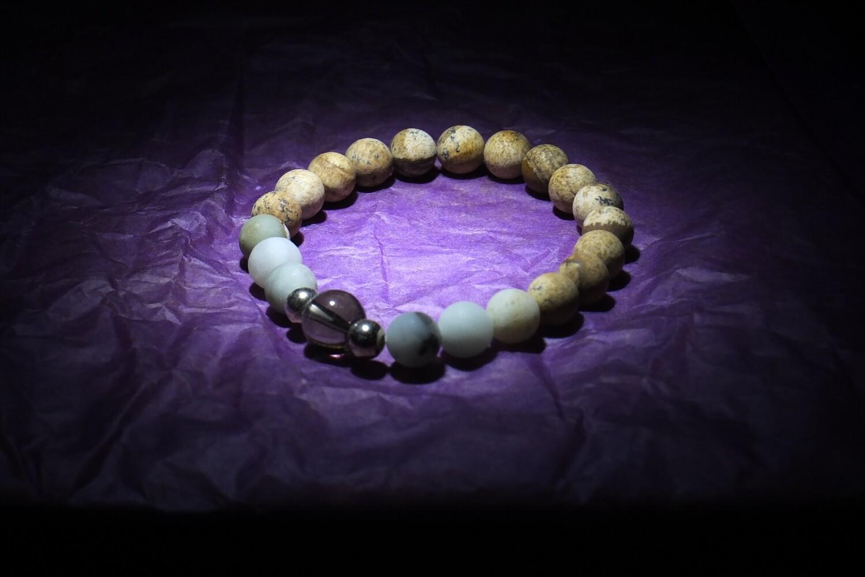 Smokey quartz, Amazonite & brown Jasper Bracelet