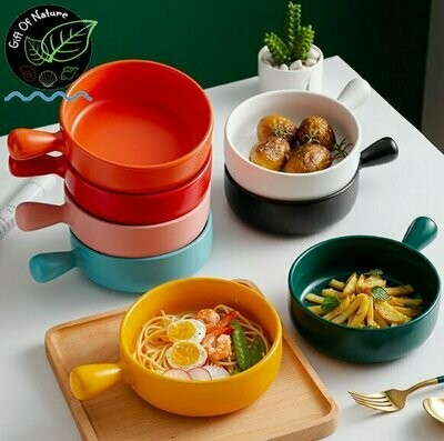 Colorful Oven-Proof Ceramic Casserole Dish with Handle