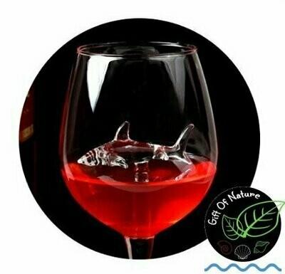 Wine Glass with Swimming Shark