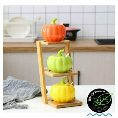 Tower PUMPKIN COLORFUL Ceramic 3-pc Container