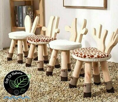 REINDEER GIRAFFE RABBIT Themed Wooden Chair for Kids
