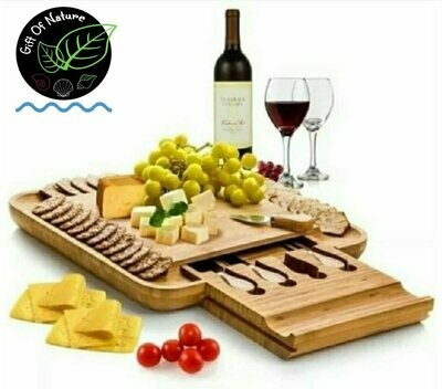 SQUARE L Cheeseboard with 4 Piece Knife Set 33cm X 33xm