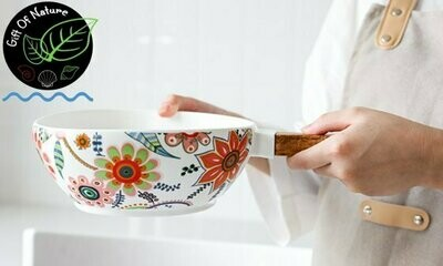 Floral Ceramic Serving Pot with Wooden Handle