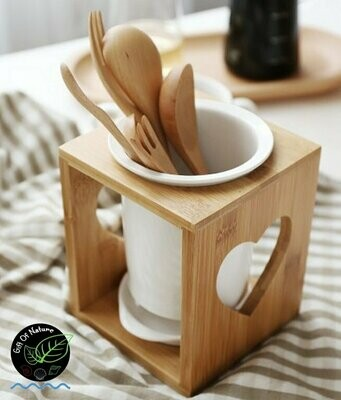 Ceramic Cutlery Container/Dryer with Natural Wooden Casement