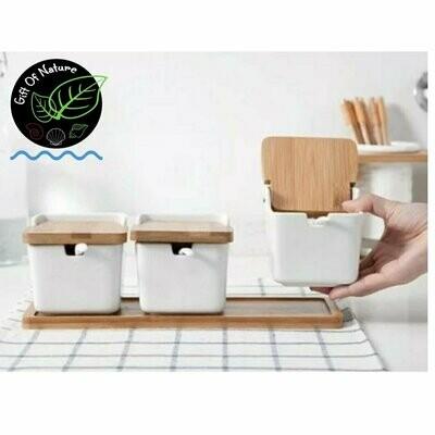 SQUARE 2pc/3pc WHITE Ceramic Salt/Spice/Snacks Container Set