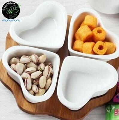 WHITE HEART 4-pc Ceramic Container Set