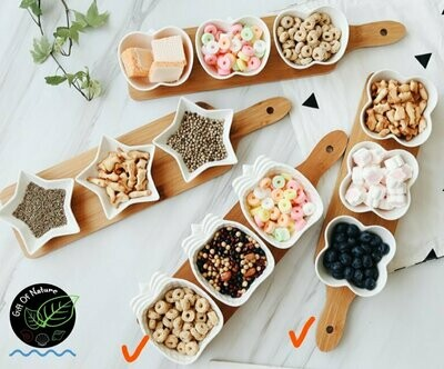 FRUIT SHAPED CERAMIC Salad/Appetizer Serving Bowl Set with Wooden Tray
