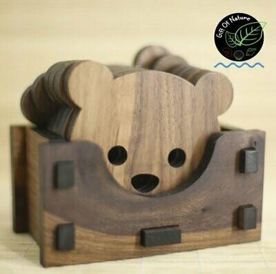 Wooden Cat / Bear Cup Coaster Set - 6pc set
