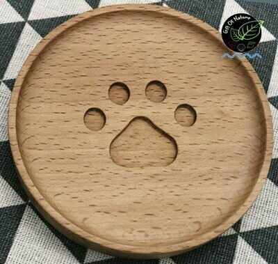 Wooden Dog Paw Cup Coaster
