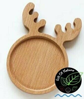 REINDEER Natural Wooden Plate