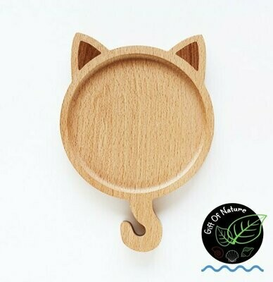 CAT Shaped Wooden Plate