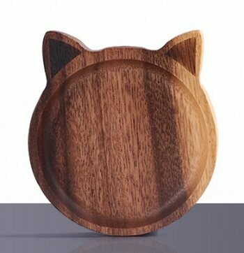 CAT or DOG PAW Shaped Wooden Plate / Saucer / Coaster