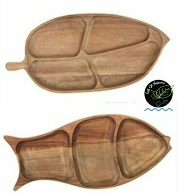 FISH / LEAF Shaped Natural Wooden Plate