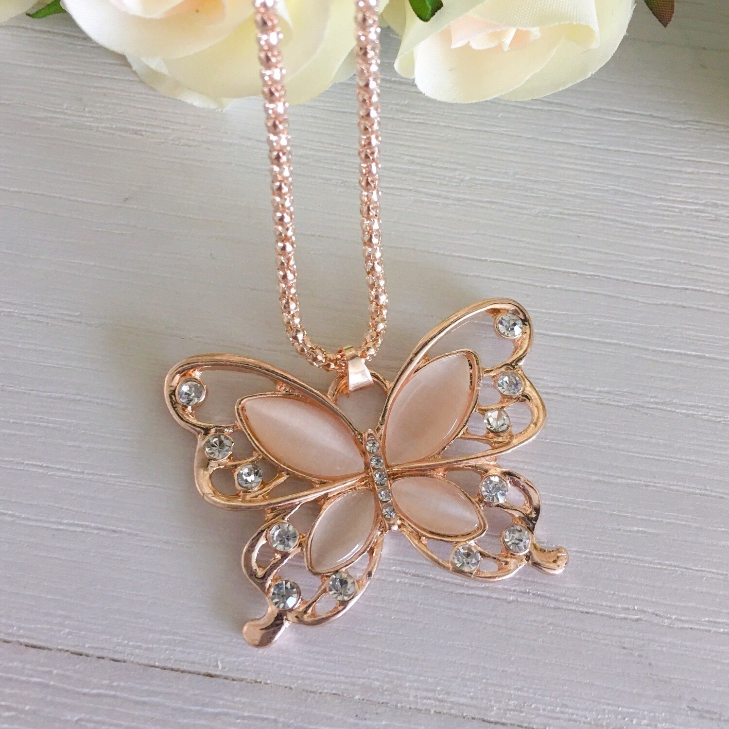 Rose Gold Opal Butterfly Necklace