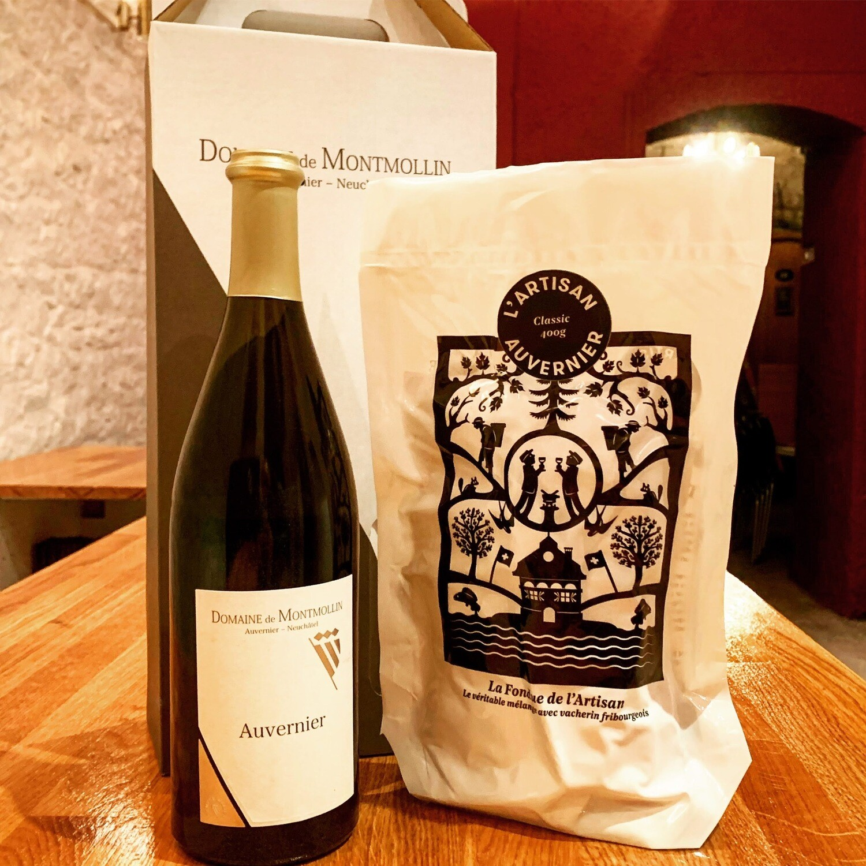 Retour en terre neuchâteloise (Fondue de L'Artisan Classic 600g + une bouteille de Non Filtré du Domaine de Montmollin)