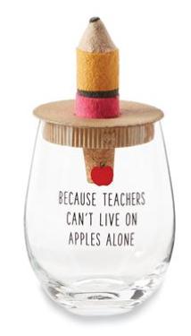 Apple Teacher Wine Glass Set