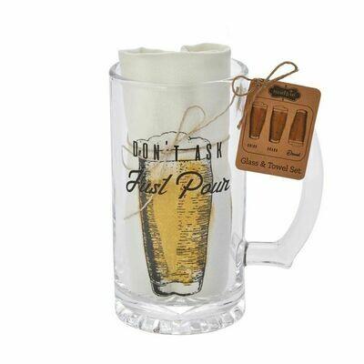 Just Pour Beer Mug Towel Set
