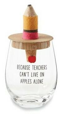 Pencil Teacher Wine Glass Set