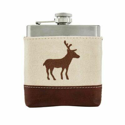 Side Deer Canvas Leather Flask