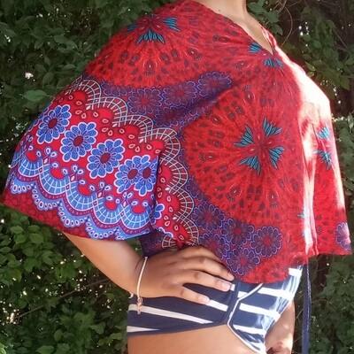 Тайская блузка с цветами, красная