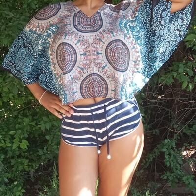 Тайская блузка с трезубцами, пурпурно-голубая