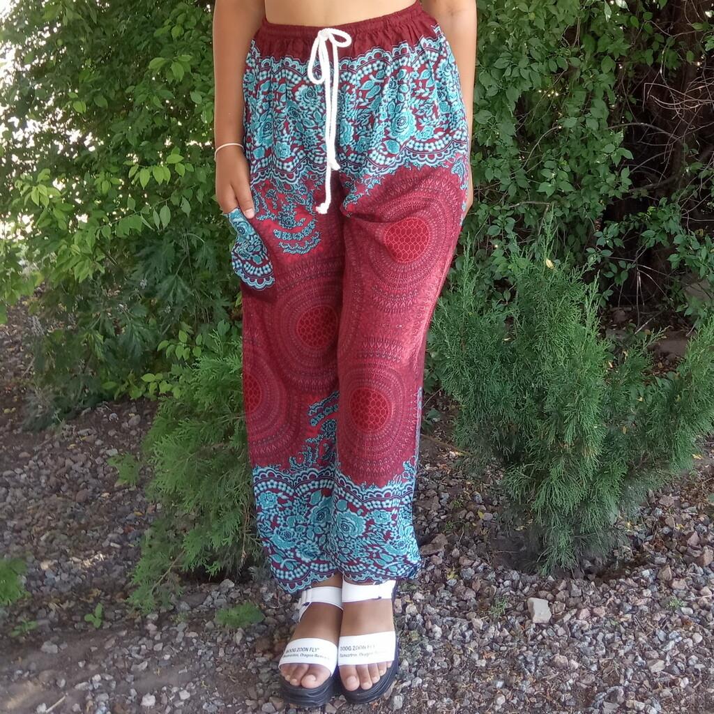 Тайские штаны с узором из сот, бордово-синие