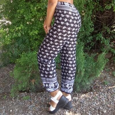 Летние штаны с маленькими слониками, чёрные