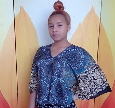 Тайская блузка с трезубцами, синяя