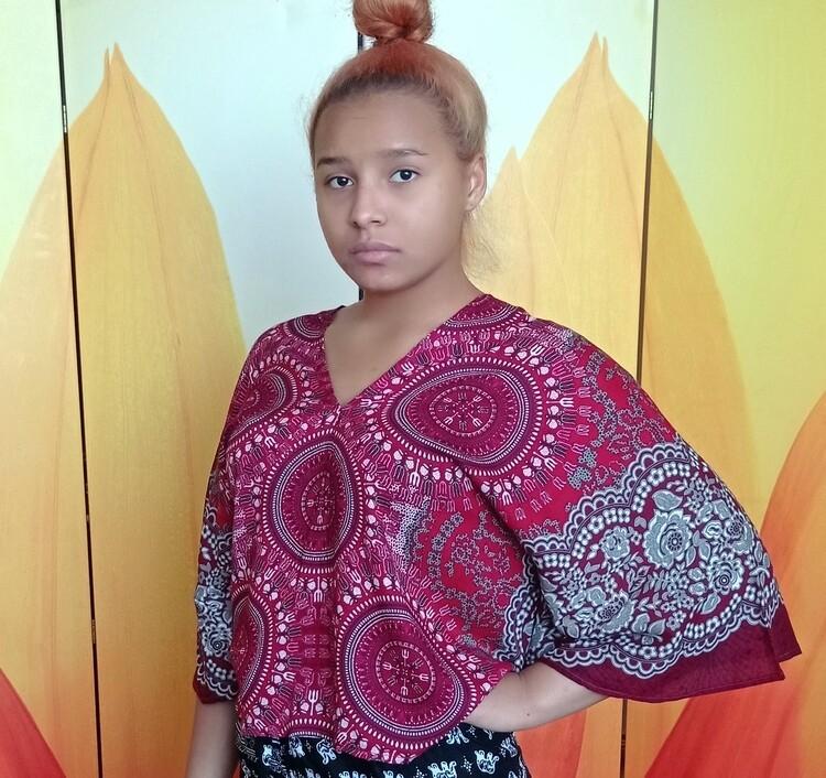Тайская блузка с трезубцами, бордовая