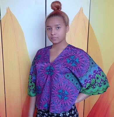 Тайская блузка с цветами, фиолетовая