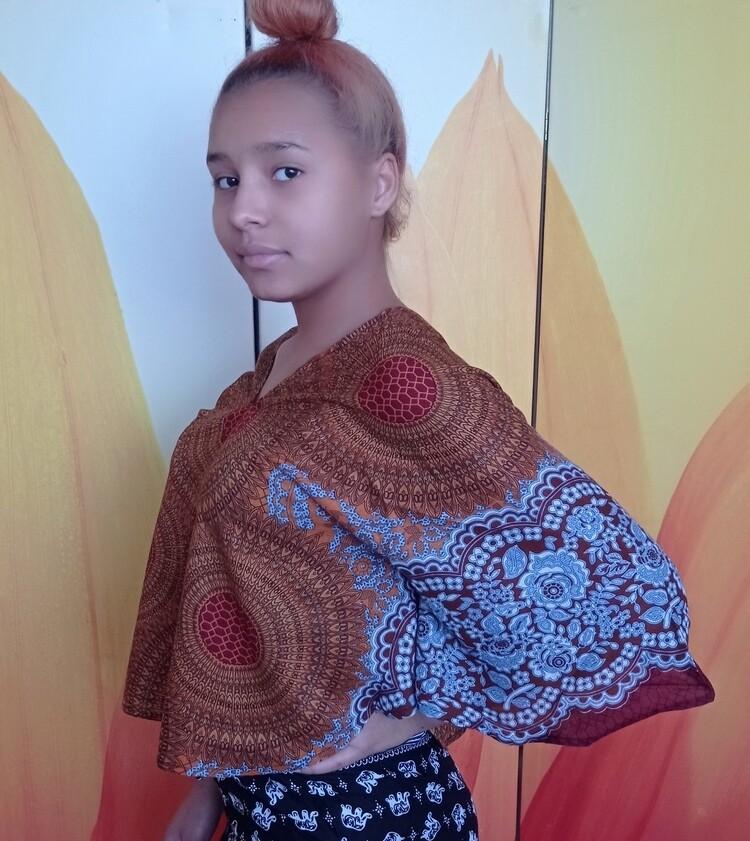 Тайская блузка с сотами, коричневая