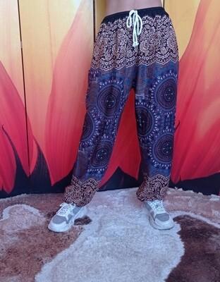Тайские штаны с узором из трезубцев, тёмно-синие/светло-коричневые