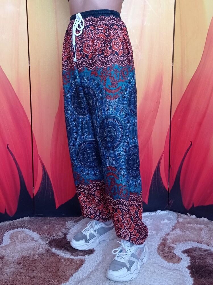 Тайские штаны с узором из трезубцев, сине-коричневые