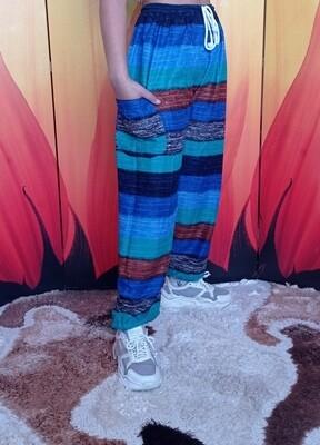 Свободные летние штаны в разноцветную полоску, третий цветовой вариант