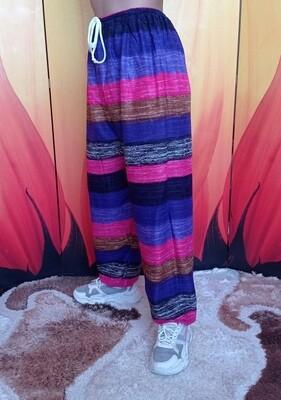 Свободные летние штаны в разноцветную полоску, первый цветовой вариант