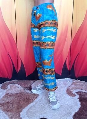 Лёгкие штаны с завязками на талии, голубые