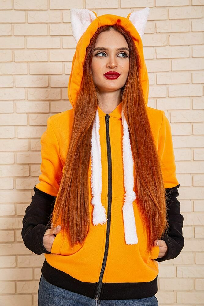 Толстовка женская цвет Оранжево-черный