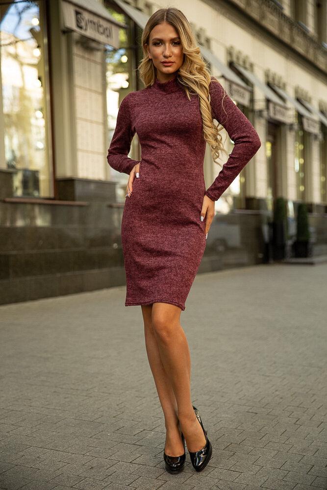 Платье с длинным рукавом Бордовое