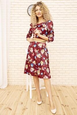 Платье Атласное с цветочным принтом цвет Бордовый