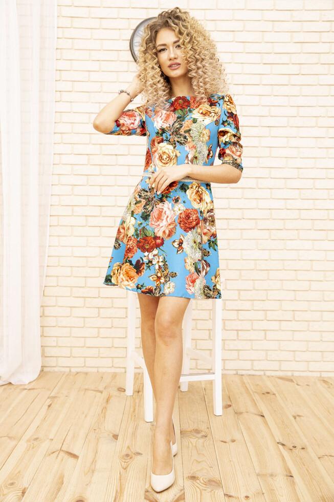 Платье с цветочным принтом Голубое