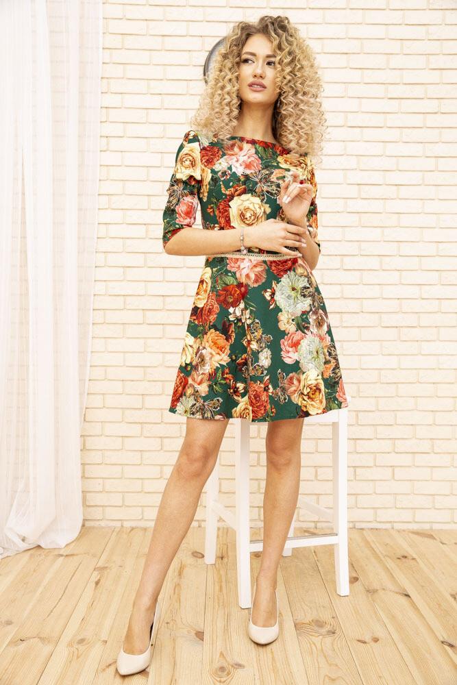 Платье с цветочным принтом Зеленое