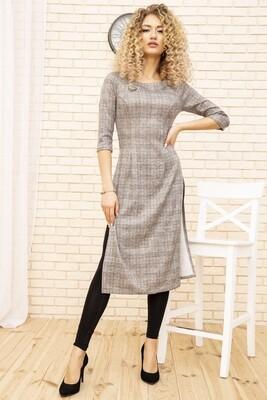 Платье-туника в клетку цвет Серый