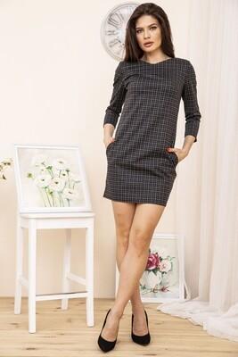Платье мини, в клетку, цвет Черно-серый