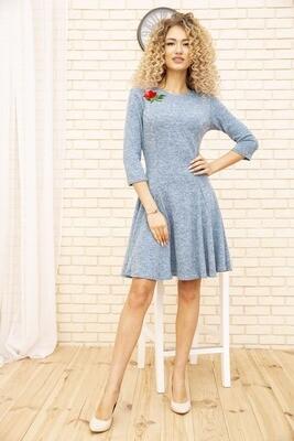 Платье расклешенное Голубое, также в Зелёном, Пудровом и Сиреневом цветах