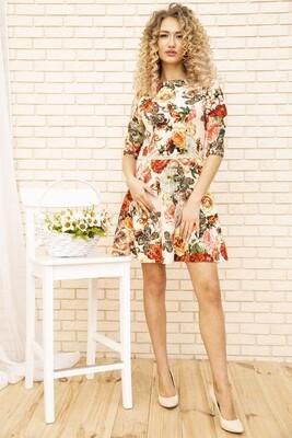 Платье с цветочным принтом Бежевое, также в Бирюзовом, Бордовом, Голубом, Зеленом, Розовом и Темно-Бежевом цветах