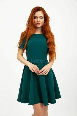 Платье клеш мини, с коротким рукавом, цвет Зеленый