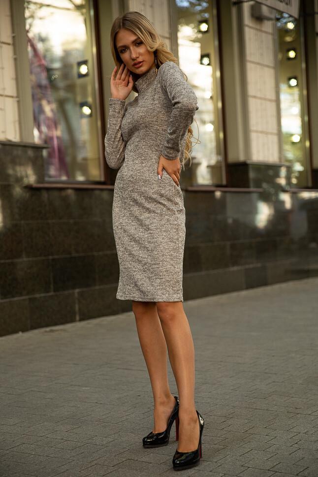 Платье с длинным рукавом Светло-серое